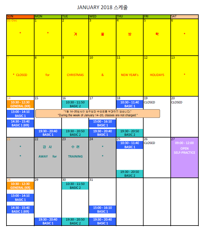 1. Schedule - January